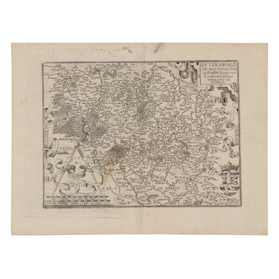 Matthias Quad Engraving Map of Luxembourg, 1596