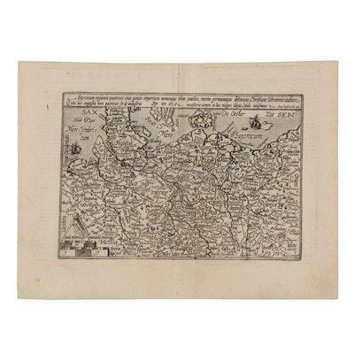 Matthias Quad Engraving Map of Northern Germany, 1596