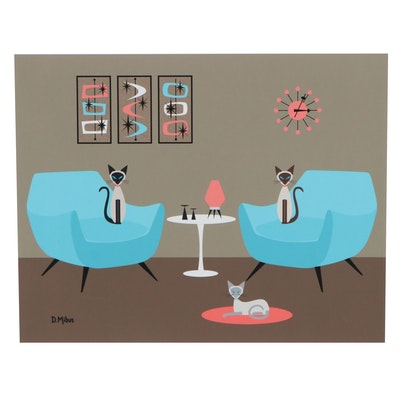 "Donna Mibus Giclée ""Three Mid Century Siamese, If You Please"""