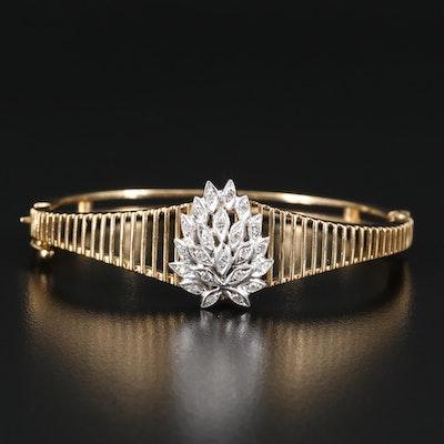 14K Diamond Hinged Bangle