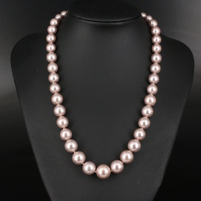 Faux Pearl Graduated Necklace with 14K Clasp