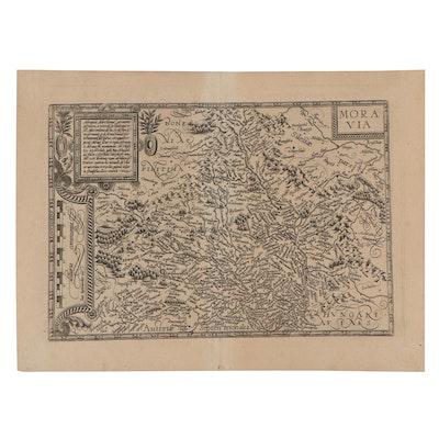 """Matthias Quad Engraving Map """"Moravia,"""" 1596"""