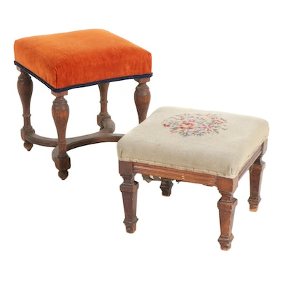 Victorian Walnut Stools Including Needlepoint, 19th Century