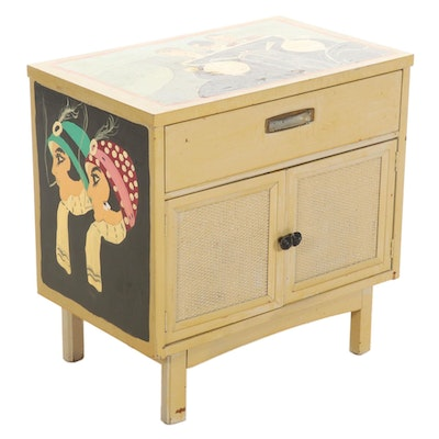 Wood Nightstand Hand-Painted by Barbara Sweney, Late 20th Century