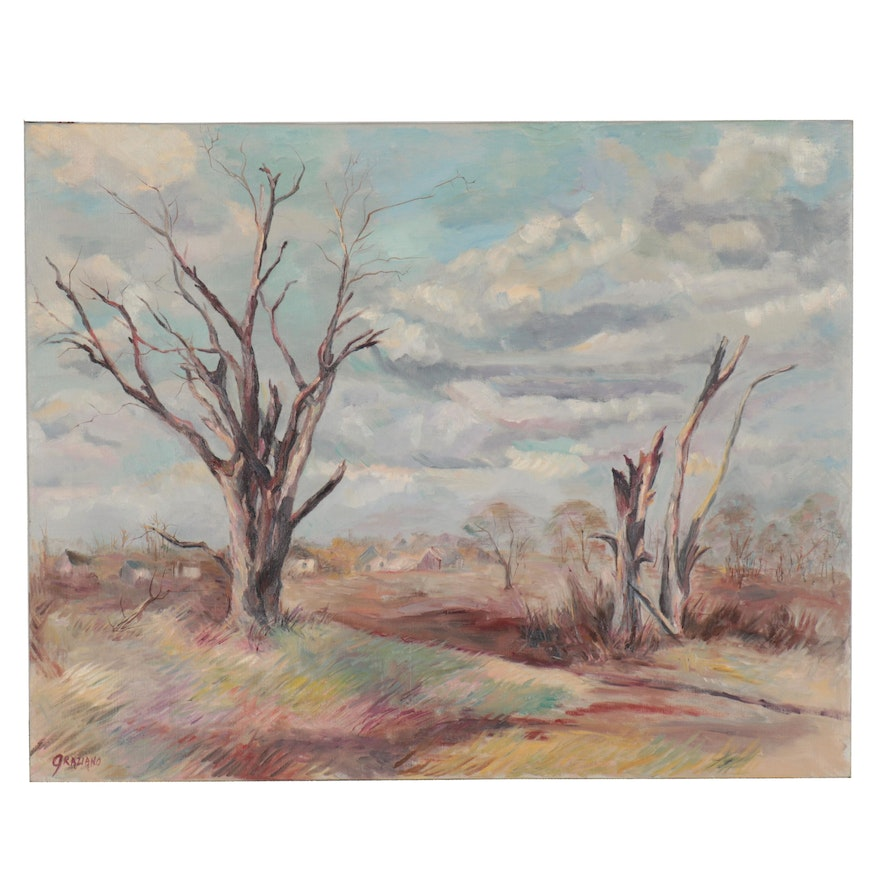 """Florence Graziano Landscape Oil Painting """"Winter Bareness,"""" Late 20th Century"""