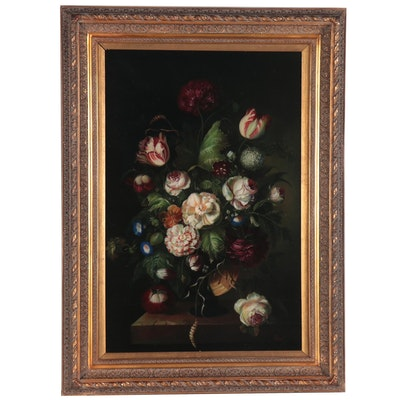 Dutch Style Floral Still Life Oil Painting, 21st Century