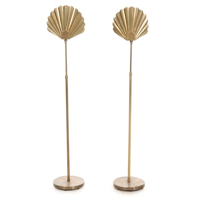 Pair of Hollywood Regency Fan Form Height-Adjustable Floor Lamps, Late 20th C.