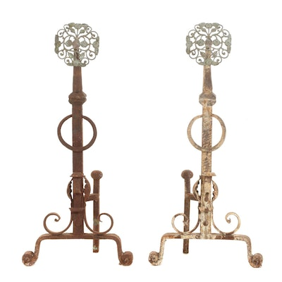 Sculptural Iron Fireplace Andirons, Antique