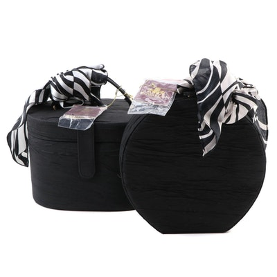 Rowallan Black Crushed Silk Covered Vanity Cases