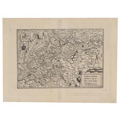Matthias Quad Engraving Map of Zelandia, Netherlands, 1596