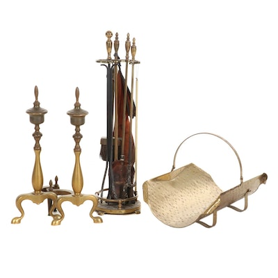 Brass and Iron Fireplace Accessories, Early to Mid-20th Century