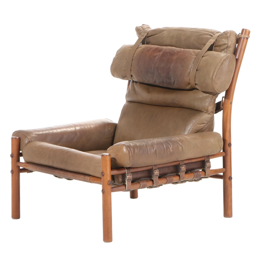 """Arne Norrel """"Inca"""" Swedish Modern Beech and Leather Lounge Chair, 1960s"""