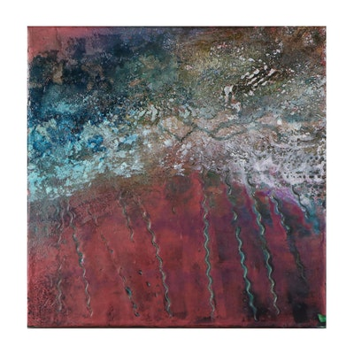 "John Metz Abstract Encaustic and Mixed Media Composition ""Depths 1:1"""