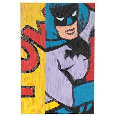 """Mark Gleberzon Pop Art Acrylic Painting """"Batman,"""" 2002"""