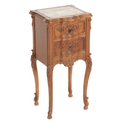 French Provincial Style Marble Top Nightstand, Mid to Late 20th Century