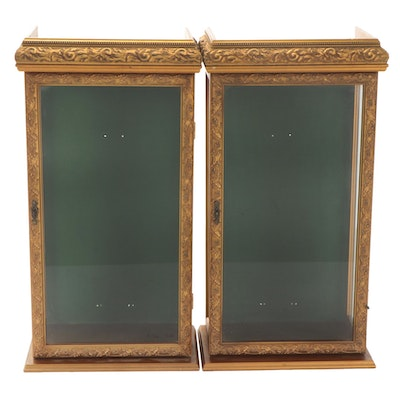 Giltwood Hinged Glass Paned Display Cases/Cabinets