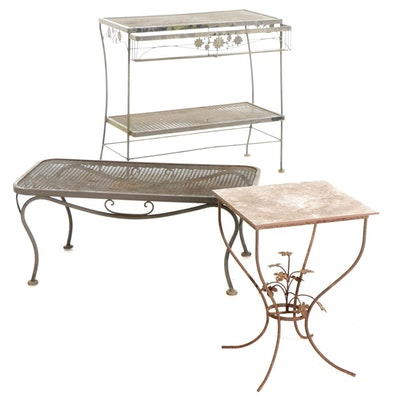 Metal Outdoor Console Table, Coffee Table, and Tile Top End Table, Late 20th C.
