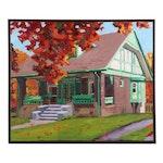 Stephen Hankin Oil Painting of Suburban Cottage in Autumn, 1990