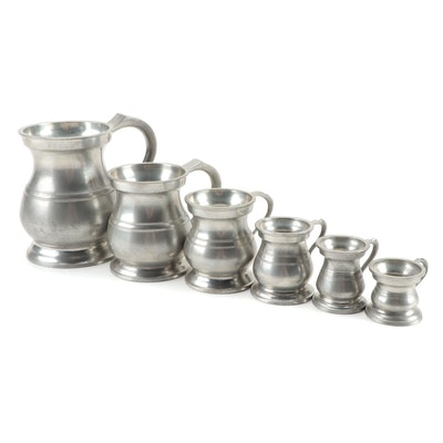 James Yates English Pewter Graduated Measuring Cups, Late 19th/ Early 20th C.