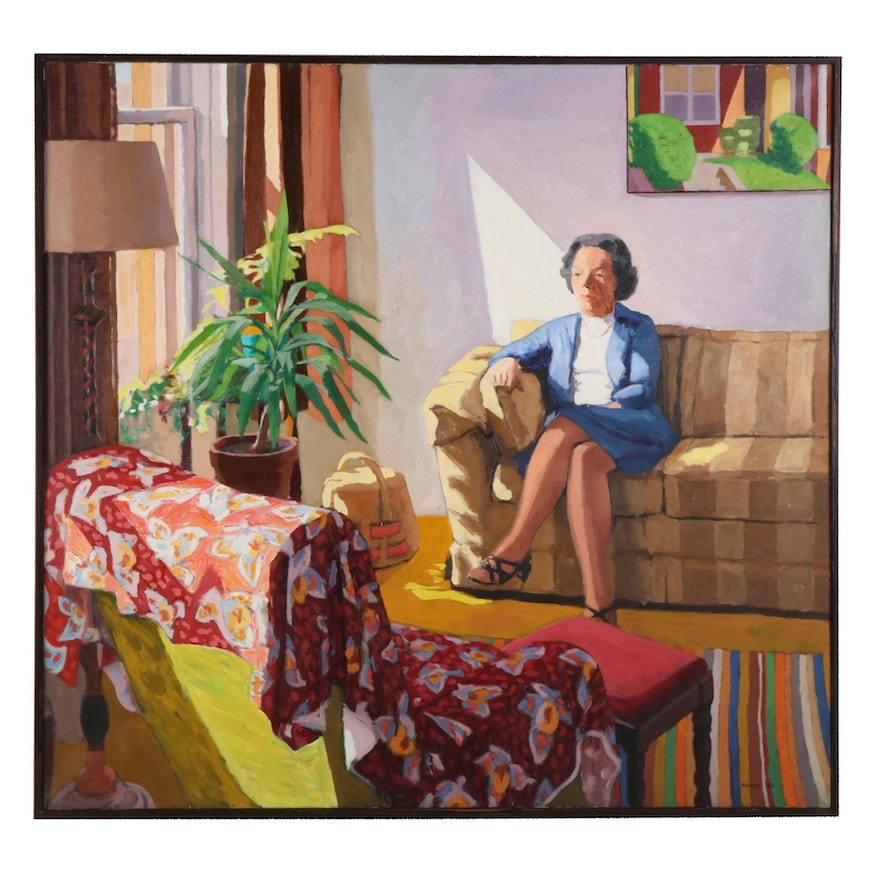 """Stephen Hankin Oil Painting """"Portrait of Alice at the Whiting Apartment,"""" 1980"""