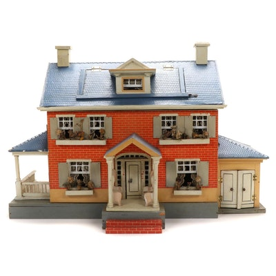 Painted Wood Dollhouse with Furniture and Accessories