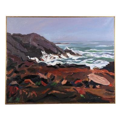"Stephen Hankin Oil Painting ""Lobster Cove, Monhegan Island, Maine,"" 2004"