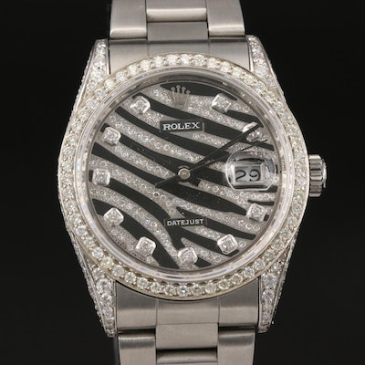 1989 Rolex Datejust 3.65 CTW Diamond Wristwatch with Zebra Dial