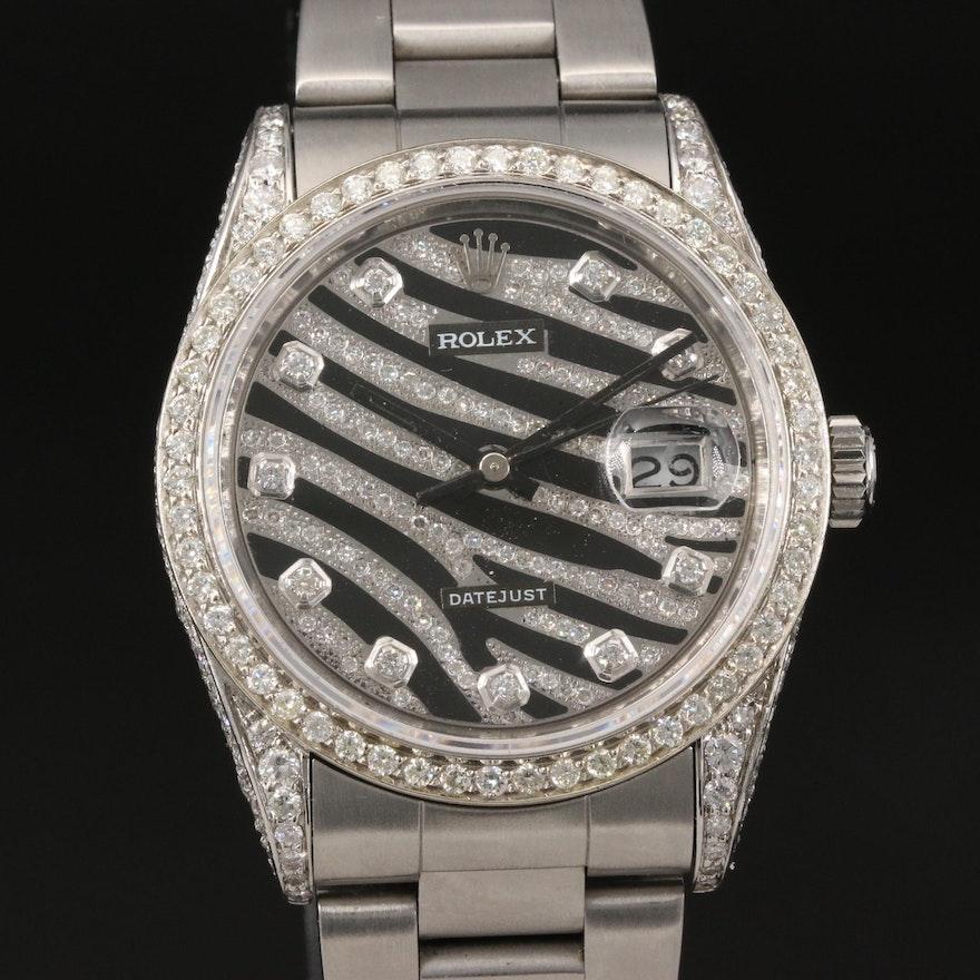 1989 Rolex Datejust 3.65 CTW Diamond Wristwatch with Zebra Dial