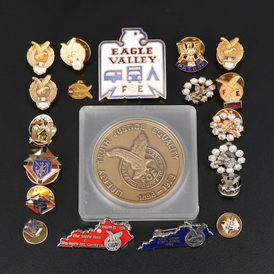Fraternal Order of the Eagles and Knights of Columbus Rhinestone and Enamel Pins