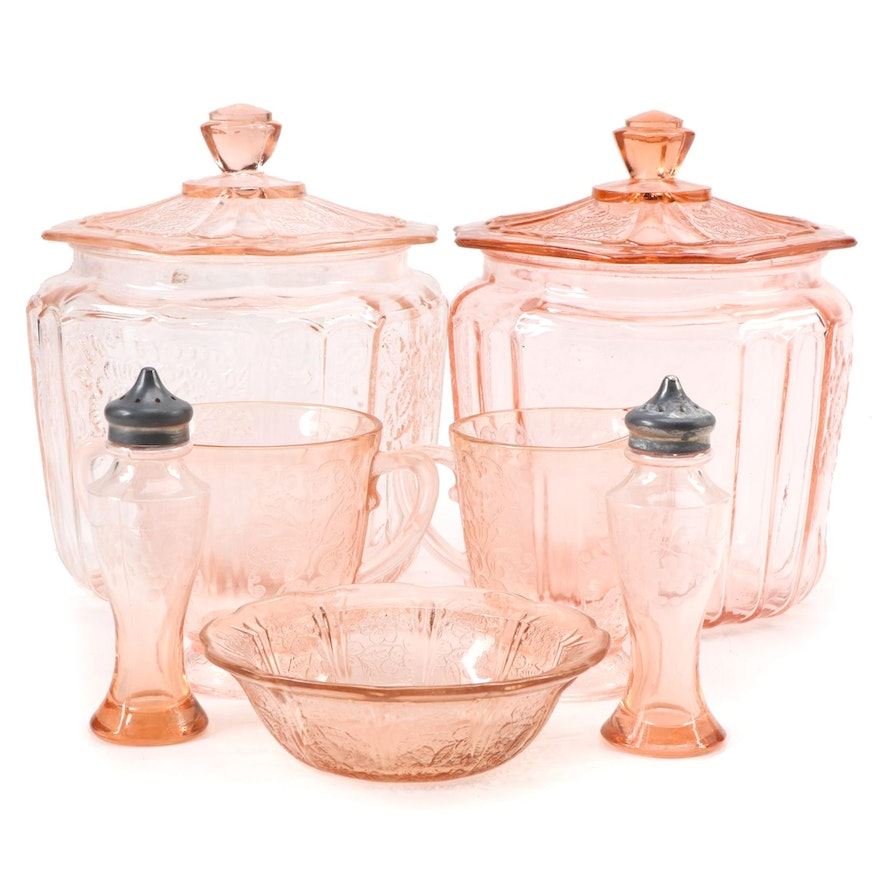 "Anchor Hocking ""Mayfair Pink"" Depression Glass Biscuit Jars and Other Tableware"