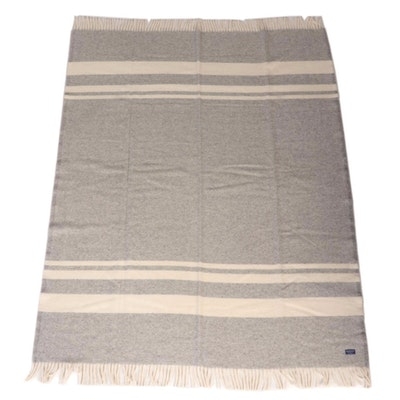 Faribault Woolen Mill Co. Grey and Ivory Striped Throw