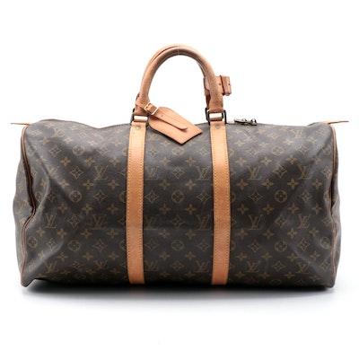 Louis Vuitton Keepall 50 Duffel Bag in Monogram Canvas