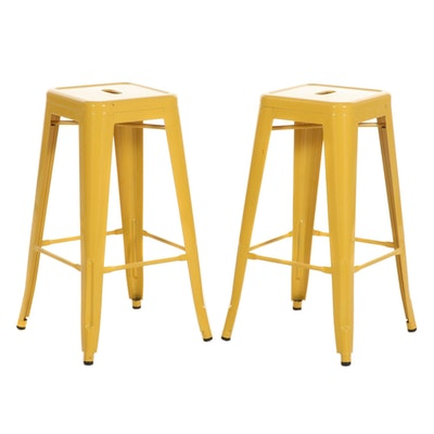 Pair of Yellow-Painted Metal Bar Stools