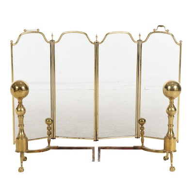 Brass Ball-and-Claw Foot Andirons with Fireplace Screen, 20th Century