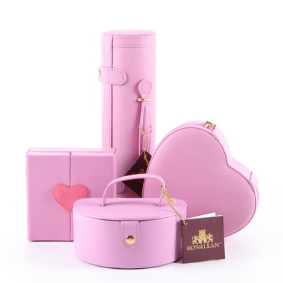 Rowallan Pink Pebbled Leather Travel Jewelry Cases