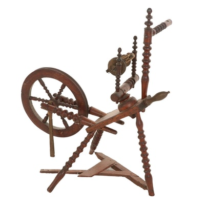 Turned Walnut Spinning Wheel, 19th Century
