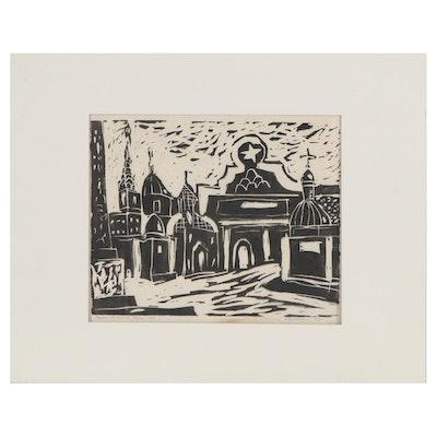 "Marcos Grigorian Linocut Print ""Piazza de popolo, Roma,"" 1957"