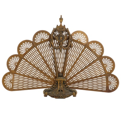 Victorian Pierced Brass Folding Peacock Fireplace Screen