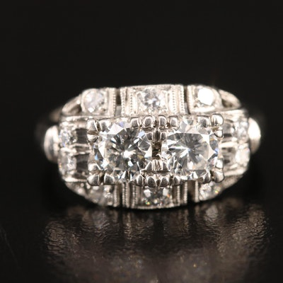 1930s Platinum 1.10 CTW Diamond Ring