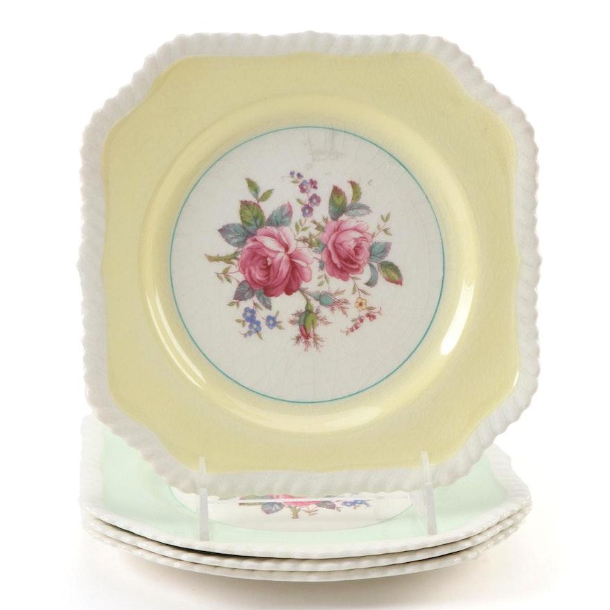 Johnson Bros. Windsor Ware Rose Motif Square Salad Plates, Mid-20th C.