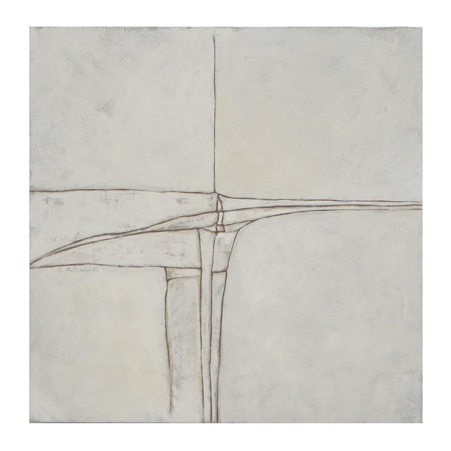Sirak Melkonian Abstract Acrylic Painting, 1983