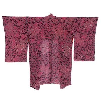 Ryukyu Style Shisa Floral Crepe Silk Haori with Himo, Early Shōwa Period