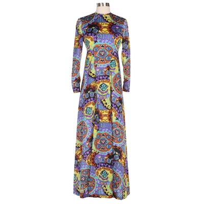 Vogue Paris Original Multicolor Print Long Sleeve Maxi Dress