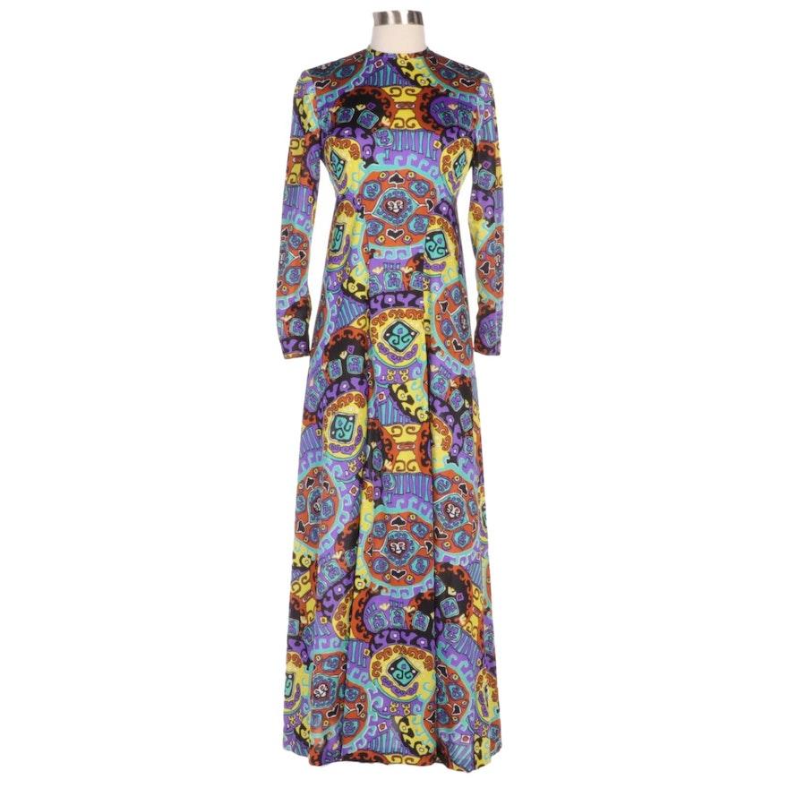 Vogue Paris Original Multicolor Print Long Sleeve Maxi Dress
