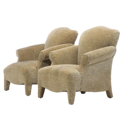 Upholstered Rolled Arm Lounge Chairs, Late 20th Century