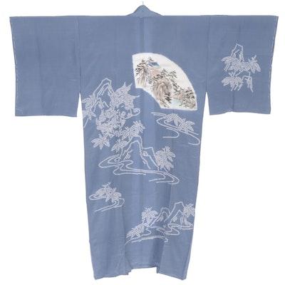 Shibori Blue Silk Kimono with Yama and Hashi  Motif