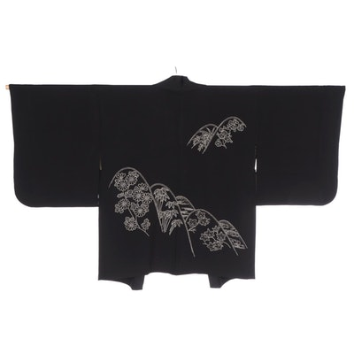 Black Bamboo and Chrysanthemum Sashiko Embroidered Haori with Himo, Shōwa Period