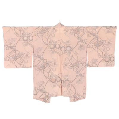 Pink Abstract Floral and Geometric Silk Haori with Ombré Himo, Shōwa Period