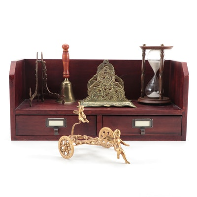 Floating Shelf with Drawers, Zodiac Hourglass, and Other Office Accessories