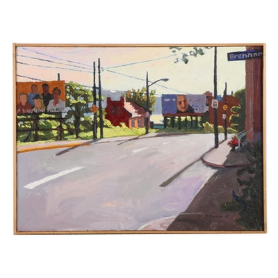 """Stephen Hankin Oil Painting """"Billboards, Forbes Ave., Pittsburgh,"""" 2003"""